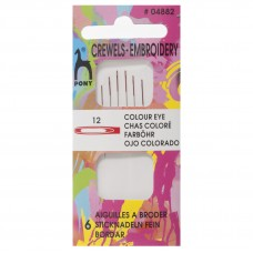 Hand Sewing Needles: Crewels: Colour-Coded Eye: Size 12