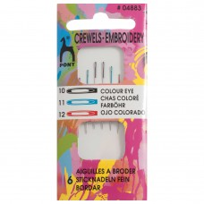 Hand Sewing Needles: Crewels: Colour-Coded Eye: Size 10/12