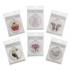 Cross Stitch Kits with Hoop: Assortment: Pack of 12