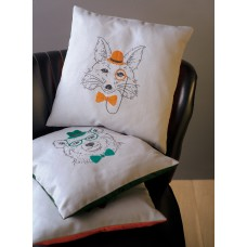 Embroidery: Cushion: Fox with Orange Glasses