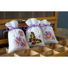 Counted Cross Stitch: Pot-Pourri Bags: Purple Astors: (Set of 3)