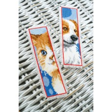 Counted Cross Stitch Kit: Bookmark: Cat & Dog: Set of 2