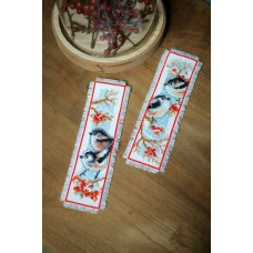 Counted Cross Stitch Kit: Bookmark: Long-Tailed Tits & Red Berries: Set of 2