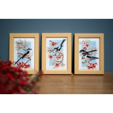 Counted Cross Stitch Kit: Long-Tailed Tits & Red Berries: Set of 3