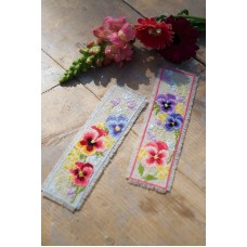Counted Cross Stitch Kit: Bookmark Kit: Violets Set of 2