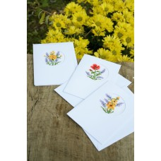 Counted Cross Stitch Kit: Greeting Card: Flowers & Lavender: (Set of 3)