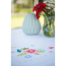 Counted Cross Stitch Kit: Tablecloth: Spring Flowers & Butterflies