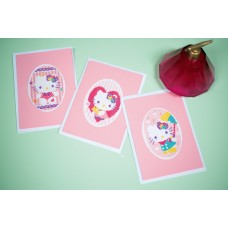 Counted Cross Stitch Kit: Greeting Card: Hello Kitty Pastels: Set of 3