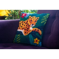 Counted Cross Stitch Kit: Cushion: Leopard