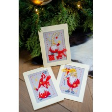 Counted Cross Stitch Kit: Greeting Card Kit: Christmas Gnomes: Set of 3