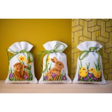 Counted Cross Stitch Kit: Pot-Pourri Bag: Rabbits with Chicks: Set of 3