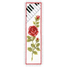 Counted Cross Stitch Kit: Bookmark: Rose & Piano