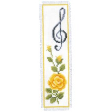 Counted Cross Stitch Kit: Bookmark: Rose & Treble Clef