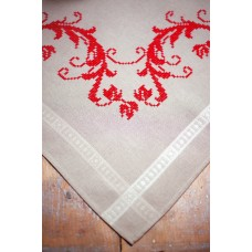 Embroidery Kit: Tablecloth: Red Leaf Design