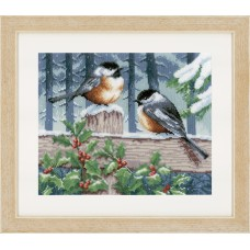 Counted Cross Stitch: Blue Tits in Winter