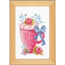 Counted Cross Stitch Kit: Pink Latte Cup & Flowers