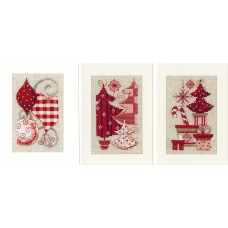 Counted Cross Stitch Kit: Cards: Christmas Motif: Set of 3