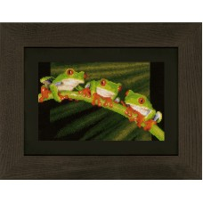 Counted Cross Stitch Kit: Red Eye Tree Frog Trio