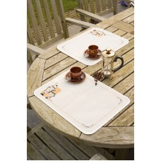 Counted Cross Stitch Kit: Place Mat: Tea & Coffee