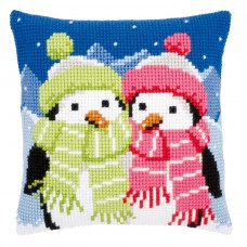 Cross Stitch Kit: Cushion: Penguins with Scarf