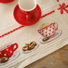 Counted Cross Stitch Tablecloth: Coffee Break