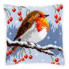 Cross Stitch Kit: Cushion: Red Robin in the Winter