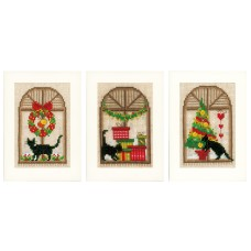 Counted Cross Stitch Kit: Cards: Christmas Atmosphere: Set of 3