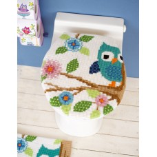 Counted Cross Stitch Kit: Toilet Lid Cover: Owl on a Branch