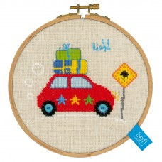 Counted Cross Stitch Kit with Hoop: Holiday By Car II