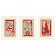 Counted Cross Stitch Kit: Greeting Cards: Christmas Symbols: Set of 3