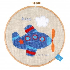 Counted Cross Stitch Kit with Ring: Birth Record: Lief! Aeroplane