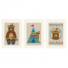 Counted Cross Stitch Kit: Cards: Lief! Indian Bear: Set of 3