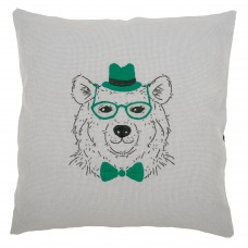 Embroidery: Cushion: Bear with Green Glasses