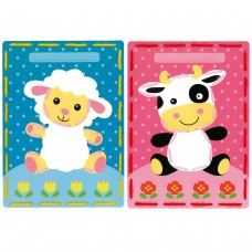 Embroidery Kit: Cards: Lamb and Cow: Set of 2