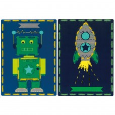 Embroidery Kit: Cards: Robot and Rocket: Set of 2