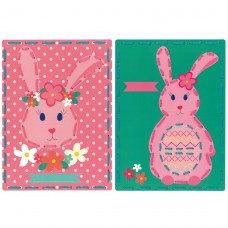 Embroidery Kit: Cards: Rabbit with Flowers: Set of 2