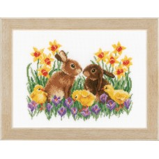 Counted Cross Stitch Kit: Bunnies with Chicks