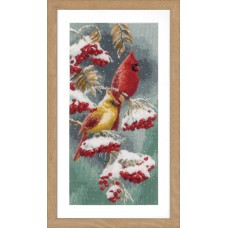 Counted Cross Stitch Kit: Scarlet & Snow-Cardinals