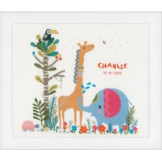 Counted Cross Stitch Kit: Birth Record: Jungle Animal Party