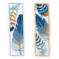 Counted Cross Stitch Kit: Bookmark: Blue Feathers: Set of 2