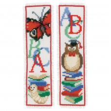 Counted Cross Stitch Kit: Bookmarks: Owl & Worm: Set of 2