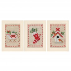 Counted Cross Stitch Kit: Greeting Cards: Christmas Motif: Set of 3