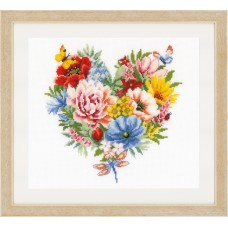 Counted Cross Stitch Kit: Heart of Flowers (Aida)