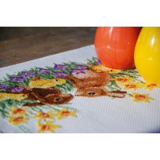 Counted Cross Stitch Kit: Runner: Rabbits with Chicks
