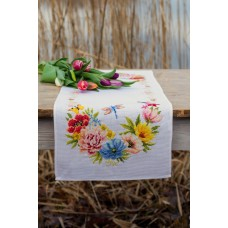 Counted Cross Stitch Kit: Table Runner: Colourful Flowers