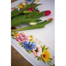 Counted Cross Stitch Kit: Tablecloth: Colourful Flowers