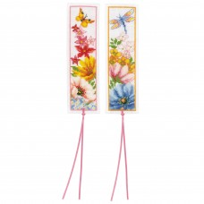 Counted Cross Stitch Kit: Bookmarks: Colourful Flowers: Set of 2 (Aida)