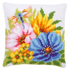 Cross Stitch Kit: Cushion: Colourful Spring Flowers