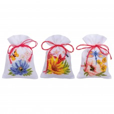 Counted Cross Stitch Kit: Pot-Pourri Bag: Colourful Flowers: Set of 3