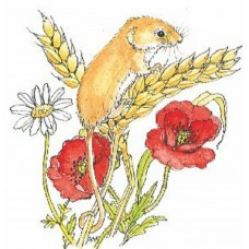 Harvest Mouse Wood Mounted Stamp